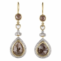 Rough Cut Diamond Drop Earrings