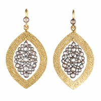 Navette Rough Cut Diamond Dangle Earrings - Kamala Collection