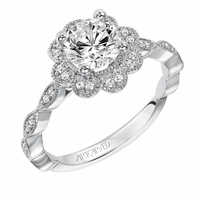 SABINA Flower Halo Diamond Engagement Ring