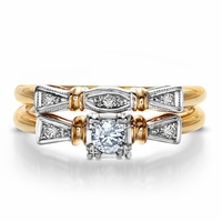 Annalisa -  Vintage Yellow Gold & Diamond Wedding Set