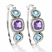 Samuel B Amethyst and Blue Topaz Earrings