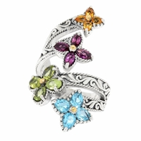 Samuel B Multi-Gemstone Flower Bypass Ring