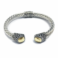 Samuel B Twisted Cable Bangle with Hammered Gold Cushion Endcaps