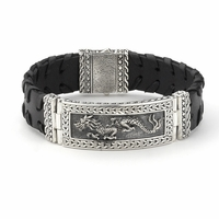 Samuel B. Wide Sterling Silver & Leather Dragon Bracelet