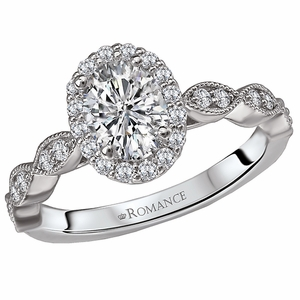 Semi-Mount Oval Halo Engagement Ring by Romance Collection