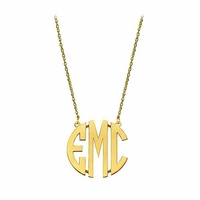 Small 10K Gold Block Letter Monogram Necklace