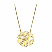 Small 10K Gold Script Monogram Necklace
