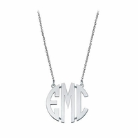Small Sterling Silver Block Letter Monogram Necklace