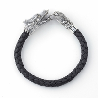 Sterling Silver & 18k Gold Dragon Design Braided Black Leather Men's Bracelet