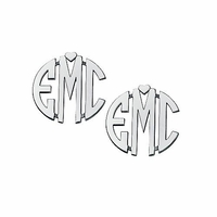 Sterling Silver Block Letter Monogram Earrings