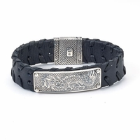Sterling Silver Dragon Design Wide Black Leather Men's Bracelet