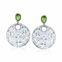 Sterling Silver Round Bali Motif Drop Earrings with Peridot
