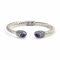 Sterling Silver Twisted Gemstone Bangle by Samuel B