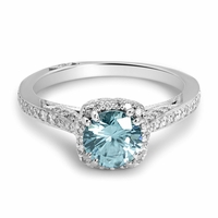 Estate Tacori Platinum Diamond Blue Zircon Ring
