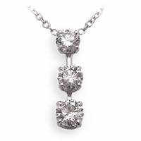 Three Stone Diamond Necklace 1.65ctw