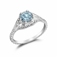 TILLIE - Ladies 14K White Gold & Aquamarine Engagement Ring