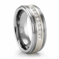 Triton COVINGTON Tungsten Ring with Channel Set Diamonds