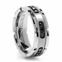 Triton - PANZER White Tungsten Ring With Black Diamonds