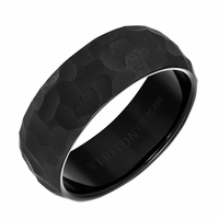Triton Black Tungsten Hammer Finish Ring