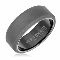 Triton RAW Matte Finish Tungsten Beveled Edge Flat Band