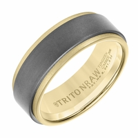 Triton RAW Tungsten and 18K Yellow Gold Mens Ring