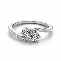 DEJA - 14K White Gold & Diamond 2 Stone Bypass Ring