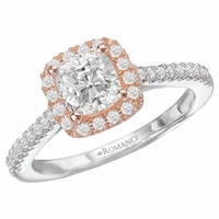 Two Tone Cushion Halo Engagement Ring