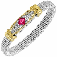 Vahan Bracelet - 8mm, 14K Gold, Sterling Silver, Diamonds and Pink Topaz