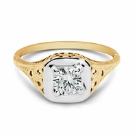 Vintage 14K Gold Old Mine Cut Diamond, .74ct