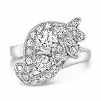 Beverly - Vintage 14K White Gold & Diamond Floral Ring - 1.32ctw