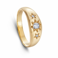 Celeste - Vintage 14K Yellow Gold & Diamond Band