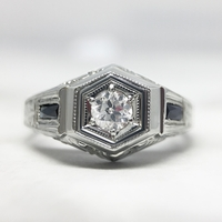 Vintage 18K White Gold, .25ct Diamond and Sapphire Engagement Ring