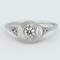 Vintage 18K White Gold and Diamond Filigree Engagement Ring - Mona