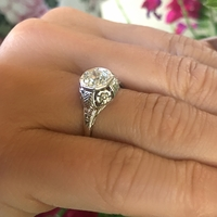 Vintage 1920s Flower Engagement Ring with .89ct Old Euro Cut Diamond