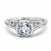 Vintage Diamond Filigree Engagement Ring - Etta