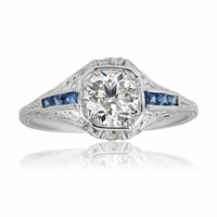 Vintage Platinum Diamond and Platinum Engagement Ring - Isabella