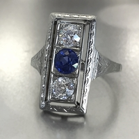 Vintage Diamond and Blue Sapphire Ring