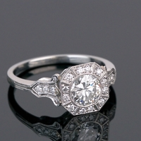 Platinum & Diamond Milgrain Bezel Set Diamond Vintage Ring
