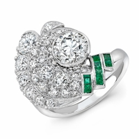 Olivia - Vintage Platinum, Diamond & Emerald Ring - 2.20ctw