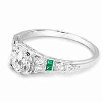 Vintage Platinum, Diamond & Emerald Engagement Ring - Eva