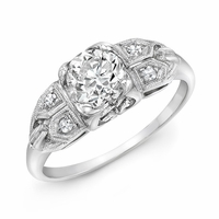 MATILDA - Vintage Platinum & Diamond Engagement Ring, .88ct OEC