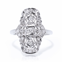 Art Deco Platinum & Diamond Cocktail Ring