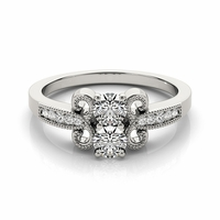 Bella - Vintage Style Two Stone Diamond Ring
