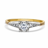 Vintage Two Tone Diamond Engagement Ring