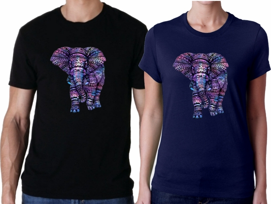 Aztec Elephant Shirt/Purple Aztec Pattern African Elephant T-Shirts/Tribal Wild Elephant T-Shirts