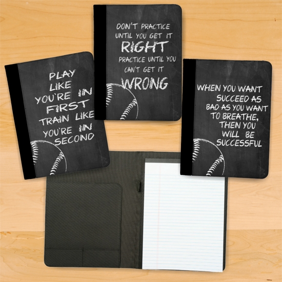 Baseball Chalkboard Motivational And Inspirational Quotes Notebook/Padfolio