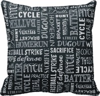 Baseball Game Chalkboard Words Square Throw Pillow