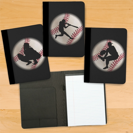 Baseball Player Position Silhouette On A Baseball Background Notebook/Padfolio