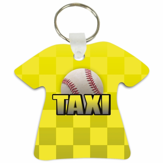 Baseball Taxi T-Shirt Shaped Aluminum Key Tag/Keychain/Key Charm