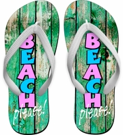 BEACH PLEASE! Flip Flops/Summer Beach Flip Flops/Beach Vacation Flip Flops